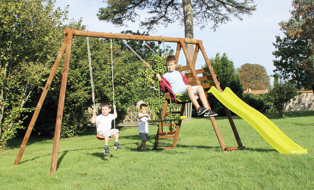 Set giochi giardino legno 2 altalene   cavalluccio   scivolo ...