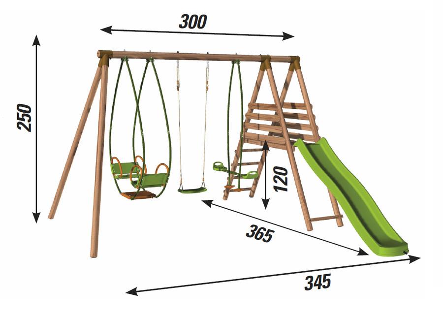 Area giochi giardino MOHAVE 1 altalena + 1 cavalluccio + 1 dondolo + 1 scivolo + piattaforma con ...
