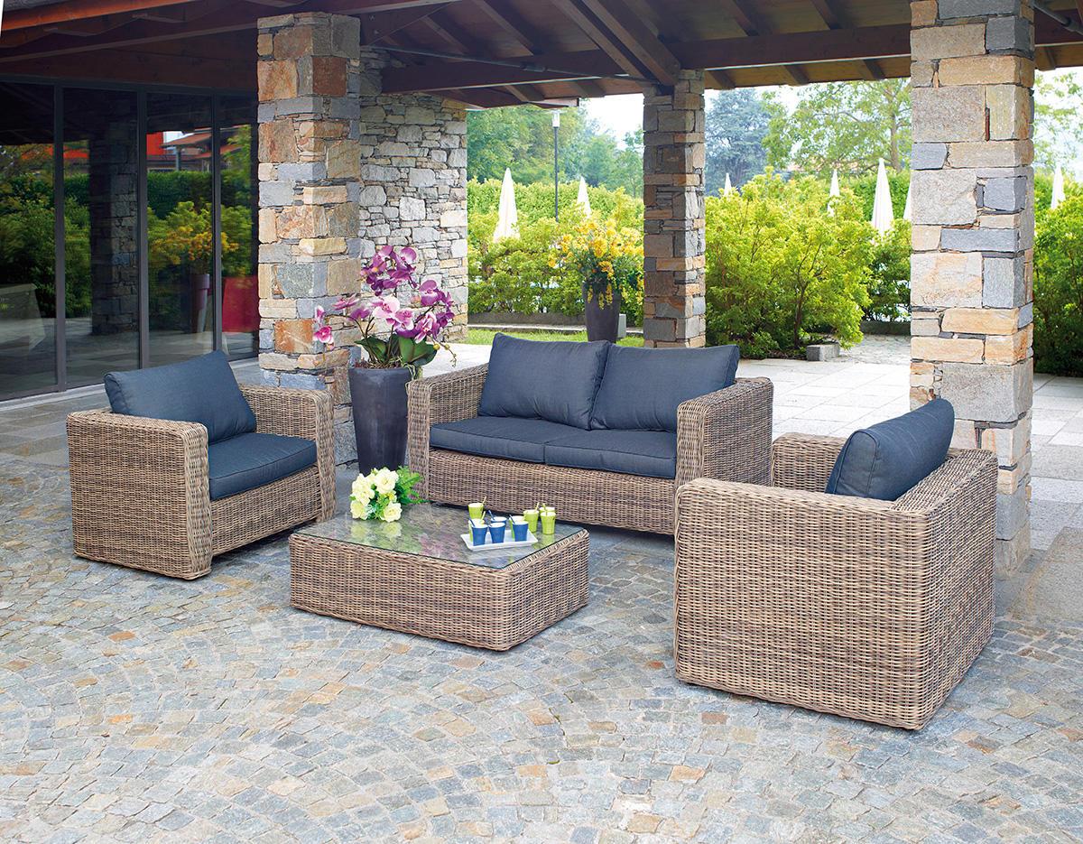 Set divanetto professionale trinidad divano 2 poltrone for Offerte arredamento da giardino
