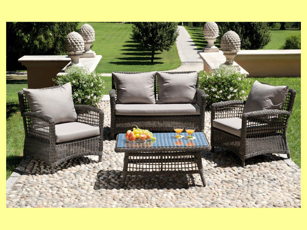 Set divanetto giardino palau divano 2 poltrone for Amazon cuscini arredo