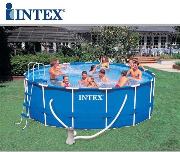 piscina intex 54946 metal frame rotonda cm 457x122 con accessori. Black Bedroom Furniture Sets. Home Design Ideas