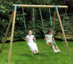 Set altalena FIORDALISO giochi in legno da giardino per bambini 2 altalene + scala mod. FIORDALISO cod. ALS1349