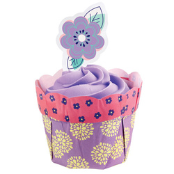 set 12 pirottini a fiori lilla  e gialli con 12 pick a fiore Wilton