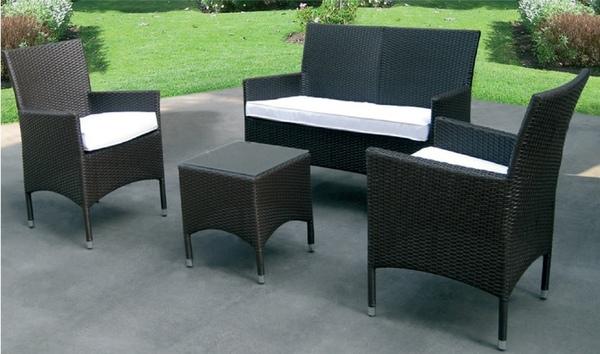 Set rattan pz 4 divano poltrone tavolino con vetro lux 48624 - Set divano rattan ...
