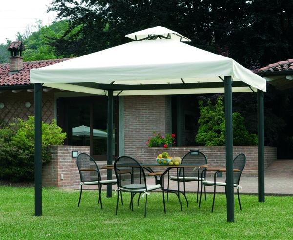 Gazebo professionale con tende esagonale quadrato 3 x 3 for Gazebo arredo giardino