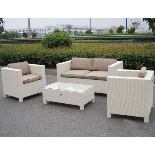 Salotto da giardino in polyrattan colore bianco mod for Salotto bianco