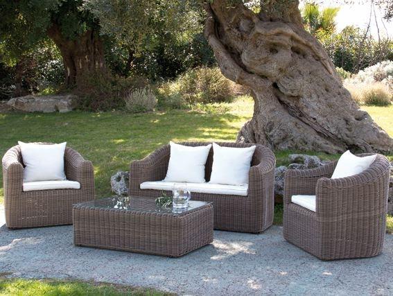 Salottino salotto da giardino mod lipari in polyrattan colore beige scuro set 4 pz - Divano in banano manutenzione ...
