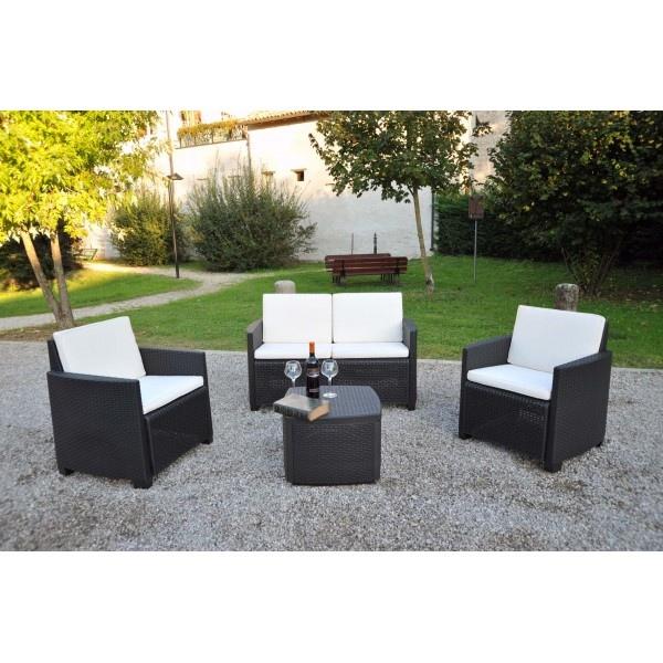 Salottino in resina polipropilene antracite etna set 4 - Set divano giardino ...