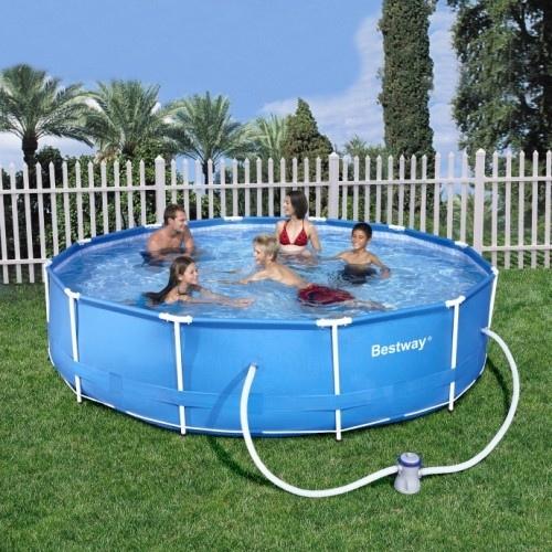 Piscina fuori terra da esterno tonda bestway frame steel for Coperture piscine fuori terra bestway