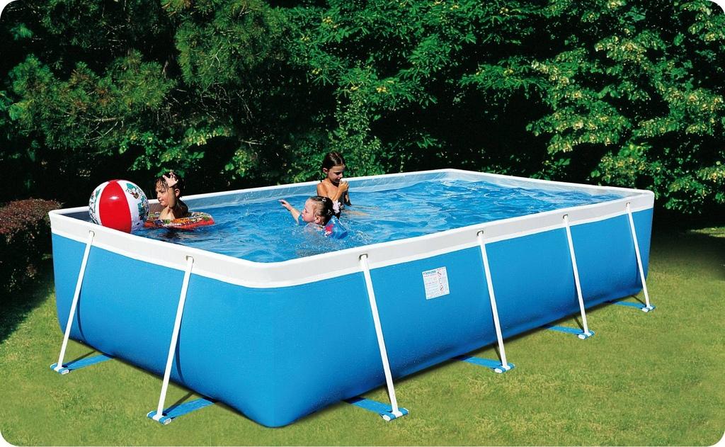 Piscina fuori terra da esterno rettangolare new plast rio 300 cm 300x215 h 70 - Giardino con piscina fuori terra ...