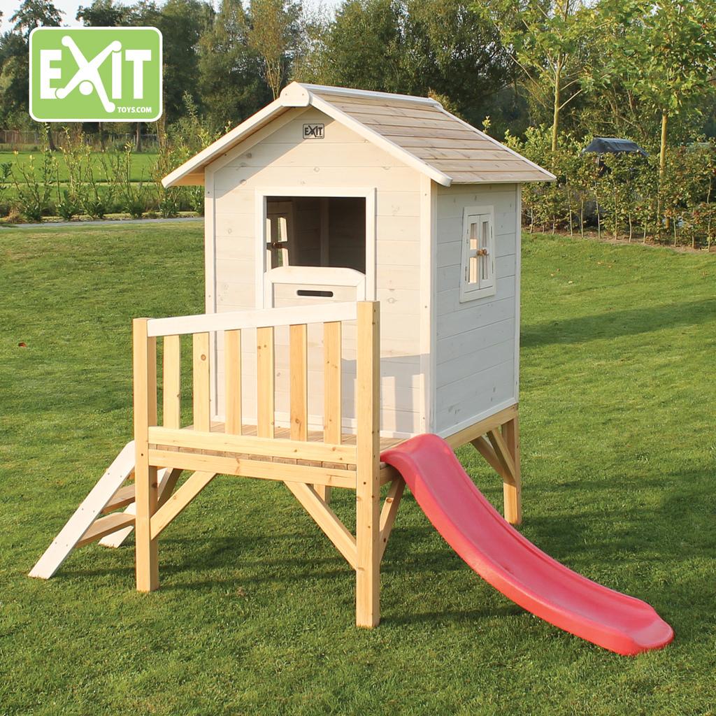 Casita para ni os de madera con tobog n beach 300 for Casitas de madera para jardin para ninos