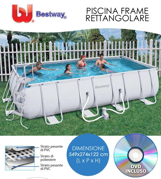 Piscina rettangolare bestway confortevole soggiorno for Accessori piscine fuori terra bestway