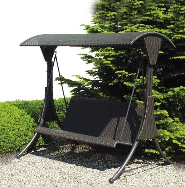 dondolo da giardino mod circeo in polyrattan 3 posti marrone cm. Black Bedroom Furniture Sets. Home Design Ideas