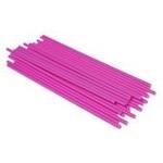 confezione 25 stecche per lecca lecca  in plastica 19 cm rosa