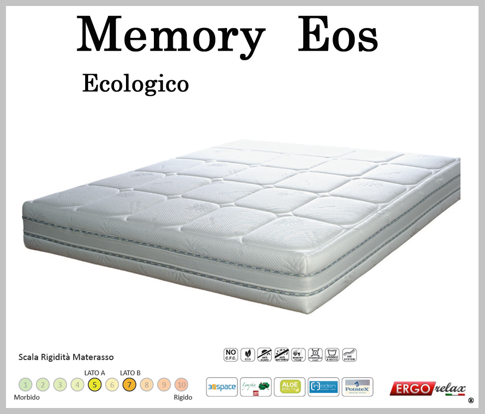 Materasso Memory Mod. Eos Matrimoniale 160 Sfoderabile in Aloe Altezza Cm 22 -Ergorelax