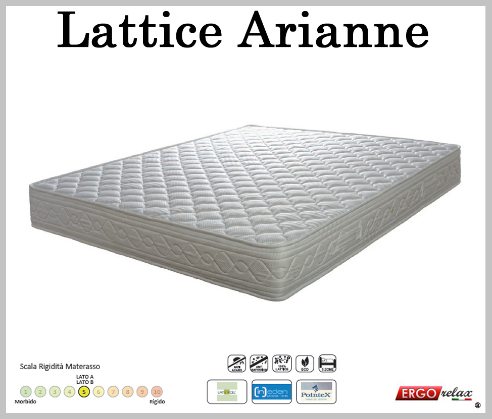 Materasso Lattice Mod. Arianne Singolo 80 Zone Differenziate Fodera Cotone Altezza Cm. 18 ...