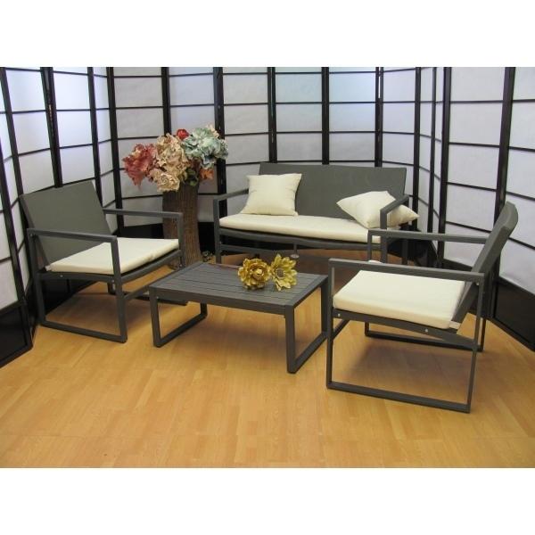 Salotto 4 pezzi da giardino per esterno textilene for Salotto grigio