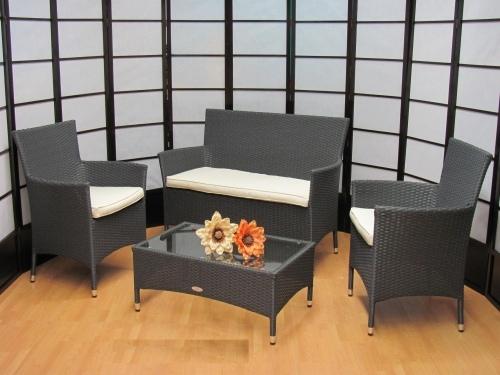 Salotto 4 pezzi da giardino per esterno textilene alluminio alessia temptation grigio - Salottini per esterno ...