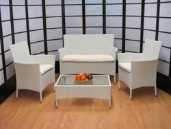 Salotto 4 pezzi da giardino per esterno textilene alluminio Alessia temptation bianco