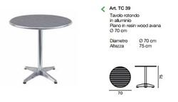 Tavolo Bar professionale rotondo diametro 70 in alluminio e acciaio 1 gamba 4 piedini resina legno avana