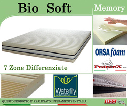 Materasso Memory Mod. Bio Soft Singolo da Cm 80 Zone Differenziate Argento Sfoderabile Altezza Cm. 22 - Ergorelax