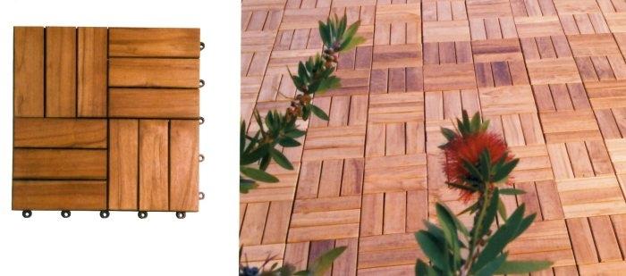 Piastrelle quadrotto in acacia per pavimenti esterni 30 x - Quale legno per esterni ...