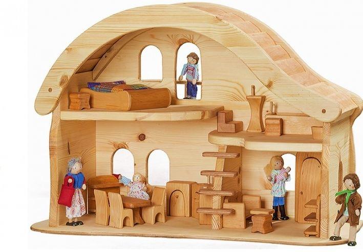 Casa delle bambole in legno massello con balcone - Casa delle bambole in legno ikea ...