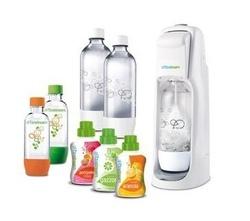 SODASTREAM - Gasatore Jet White + 2 Bottiglie 1Lt + 2 Bottigle 1/2Lt + 3 Concentrati Arancia / Cola / Limone - Jet Mega Pack
