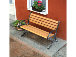 Panca panchina Garden 2 posti 125x65 legno rovere chiaro struttura ghisa GB971