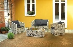 Set Salotto Giardino Antalya divano + 2 poltrone + tavolino vetro cuscini rattan tortora set79