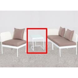 Tavolino con vetro per SALOTTO MODULARE Mod. PERLA in acciaio bianco 60X45X54H
