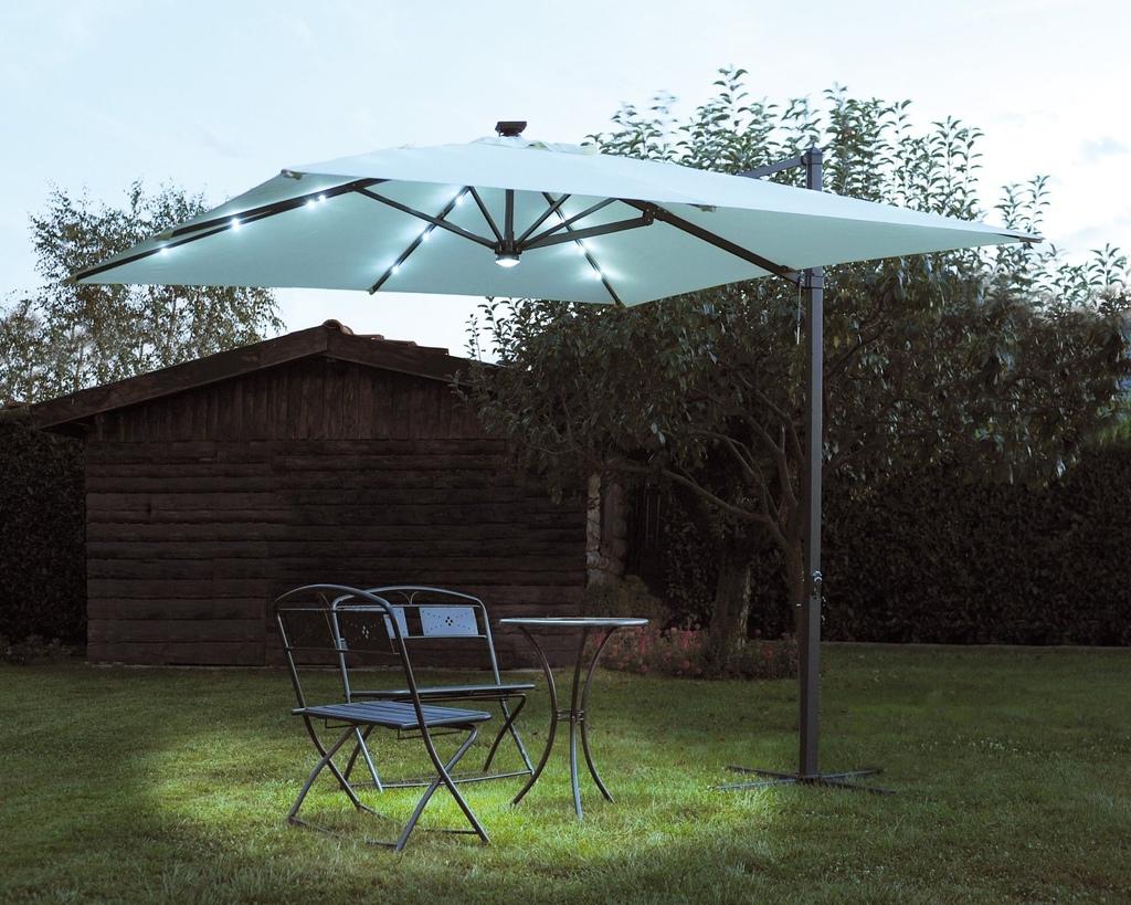 Ombrellone da giardino con luci led 3x3 rettrattile telo - Luci per giardino ...