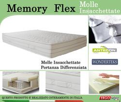 Materasso Memory Mod. Memory Flex con Molle Insacchettate Singolo da Cm. 80x190 Sfoderabile - Ergorelax