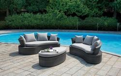 Set divanetto giardino Senigallia 2 divani onda + tavolino cuscini rattan sintetico tortora set07