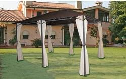 GAZEBO in METALLO Mod. Gino 3X4 mt Tende laterali Struttura in Acciaio 410634