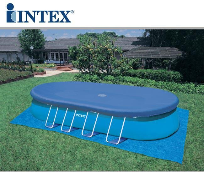 Piscina ovale autoportante intex 54432 cm 549x305x107 con for Piscine intex autoportee ovale
