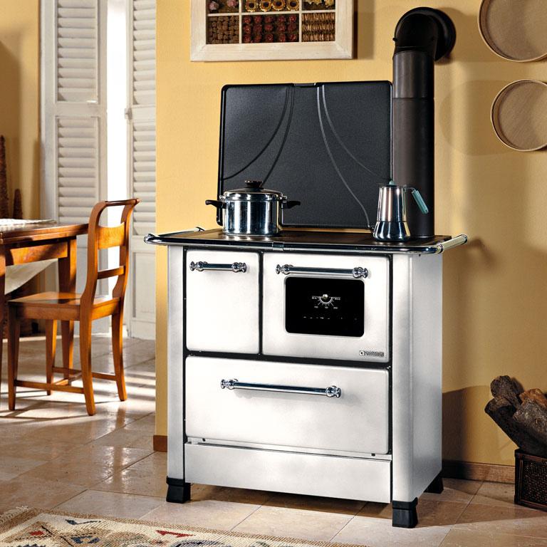 Cucina a legna romantica 3 5 dx acciaio porcellanato potenza termica nominale 5 kw 143 m3 - Stufe a legna cucina ...