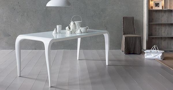 Tavolo da pranzo mod art di sedit fisso e allungabile in for Tavoli bianchi design