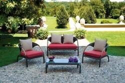 Set salotto da giardino SET ALGHERO color cioccolato con divano + 2 poltrone cuscino + tavolino rattan sintetico avana SET97