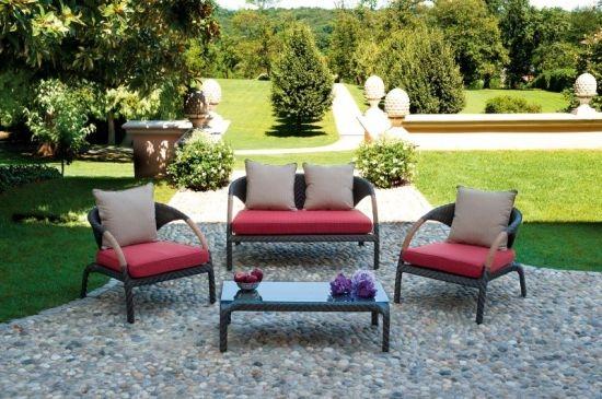 Set salotto da giardino alghero color cioccolato con divano 2 poltrone cuscino tavolino - Salotto giardino rattan ...