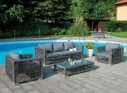 Set salotto da giardino LIGNANO color melange con divano + 2 poltrone cuscino + tavolino wicker sintetico grigio melange SET08