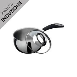 Casseruola diam 14 in acciaio inox 1 manico Bialetti BellyPot per induzione forno con coperchio