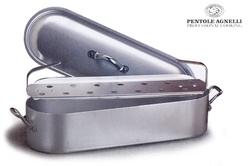 Pesciera con griglia e coperchio in alluminio Agnelli 3 mm