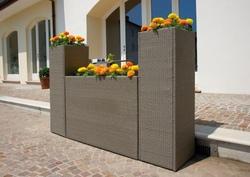 FIORIERA ORIZZONTALE alluminio wicker 120 x 40 x h.80 cm AVANA cod.PLW01