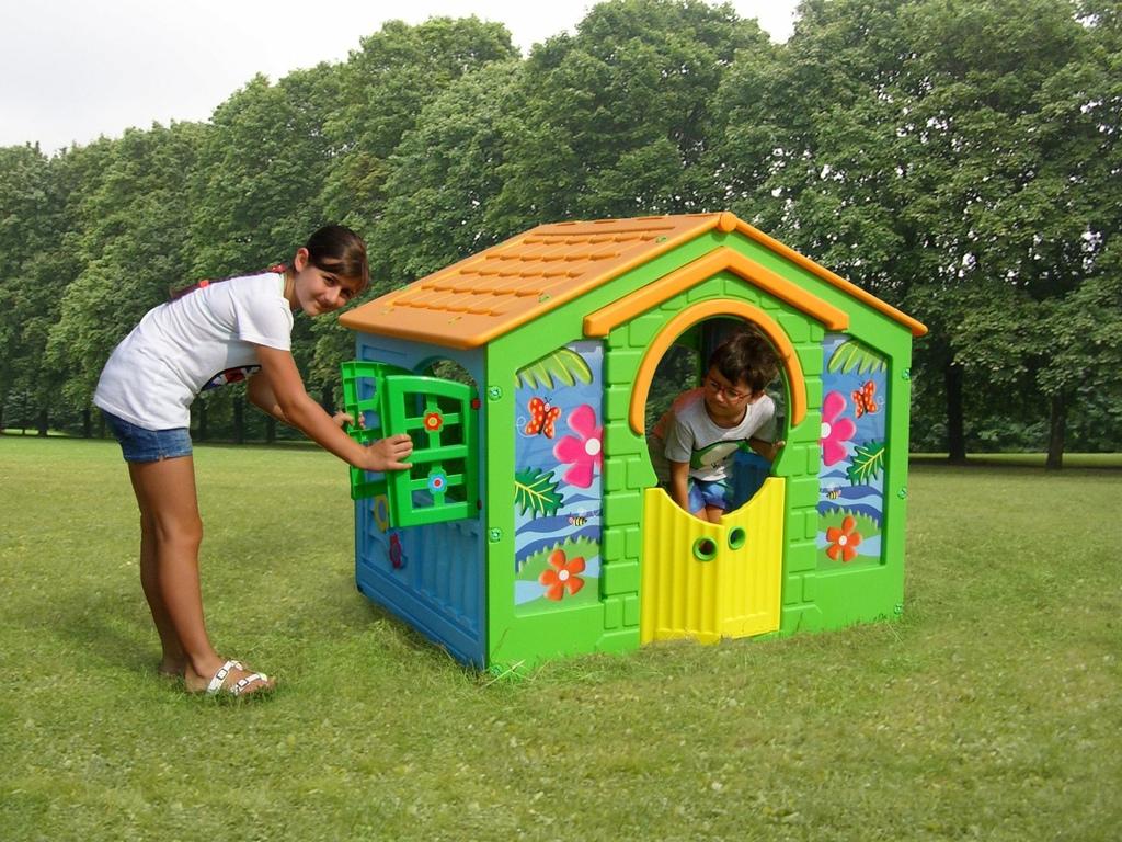 casetta per bambini per giardino in plastica farm altezza
