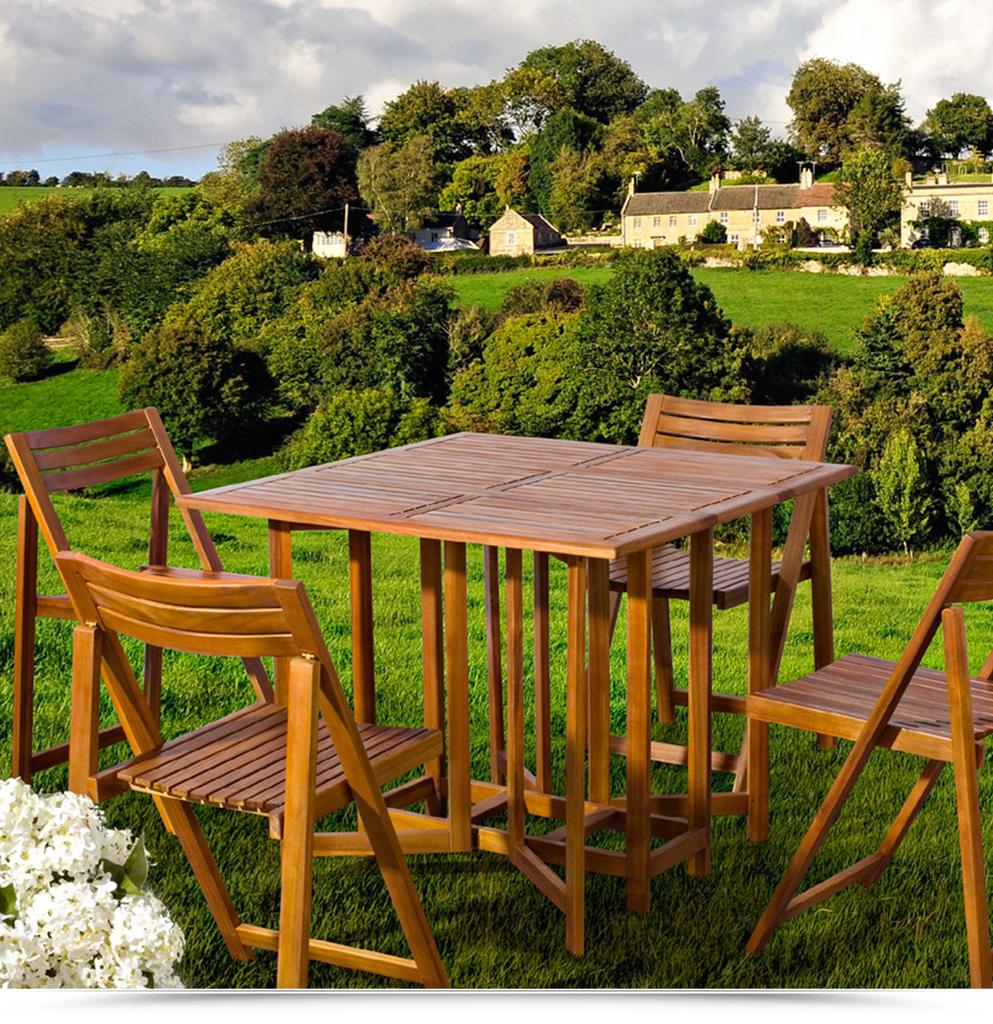 Set legno acacia salvaspazio chiudibile foldies set5 for Tavoli e sedie da giardino usati
