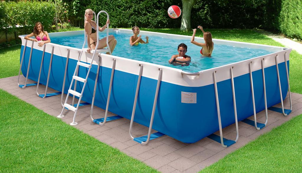 Piscina fuori terra da esterno rettangolare new plast for Teli per coprire piscine fuori terra