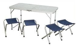 Set pic nic tavolo pieghevole 120 x 60 x 70 + 4 sedie pieghevoli