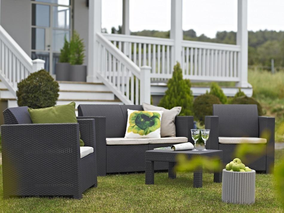 Set salotto elisa da giardino resina polirattan keter colorado colore antracite con cuscini - Salotto giardino rattan ...