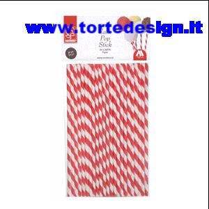 Confezione 24 stecche per cake pop spirale rossa e bianca